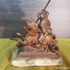 Antigüedades: ESCULTURA SAN JORGE FIRMADA. Lote 153621918