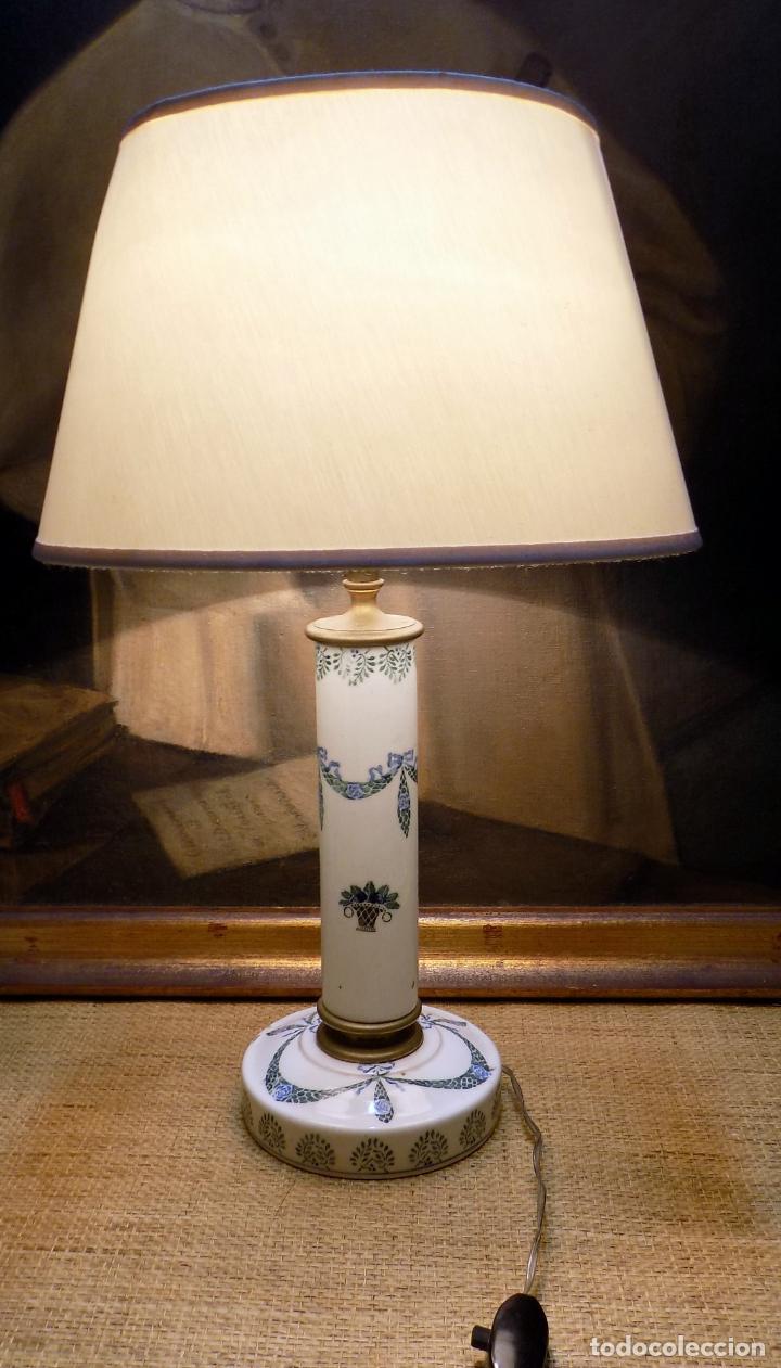 BONITA LAMPARA DE CERAMICA , 50 CM PRINCIPIOS DEL SIGLO XX, FUNCIONA, VER FOTOS. (Antigüedades - Iluminación - Lámparas Antiguas)