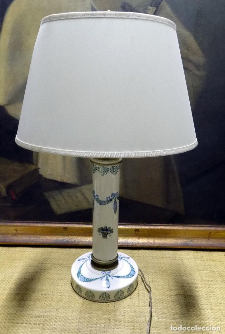 Antigüedades: bonita lampara de ceramica , 50 cm principios del siglo xx, funciona, ver fotos. - Foto 2 - 153624698
