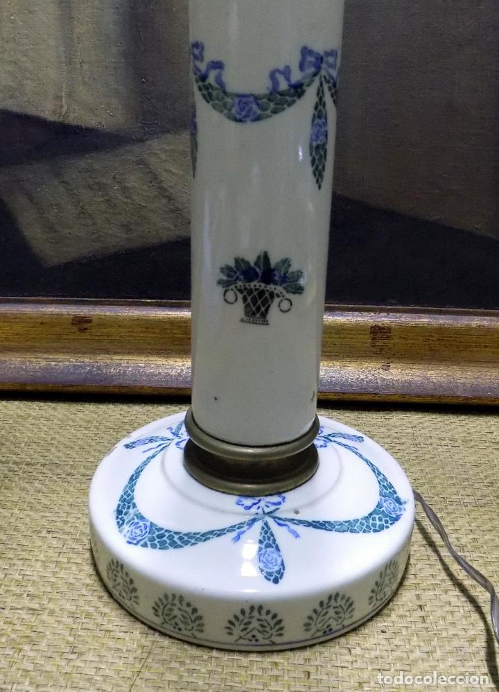 Antigüedades: bonita lampara de ceramica , 50 cm principios del siglo xx, funciona, ver fotos. - Foto 3 - 153624698