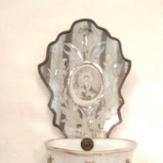 Antigüedades: BENDITERA DE CRISTAL DE LA GRANJA SIGLO XIX. Lote 153627694