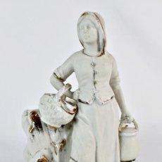 Antigüedades: FIGURA PORCELANA BISCUIT, BISQUE, VIOLETERO, FINES S XIX PPS S XX . Lote 153636566