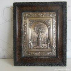 Antigüedades: MUY ANTIGUO CUADRO CHAPA VIRGEN DEL PILAR PLATEADO ALFONSO XIII. Lote 153665102