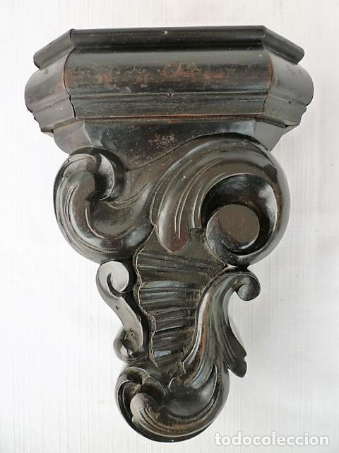 MENSULA TALLADA EN MADERA NOBLE MACIZA CON MOTIVOS VEGETALES (Antigüedades - Muebles Antiguos - Ménsulas Antiguas)