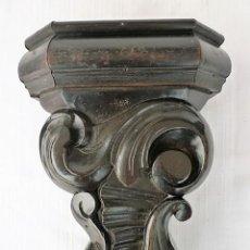 Antigüedades: MENSULA TALLADA EN MADERA NOBLE MACIZA CON MOTIVOS VEGETALES. Lote 153688054