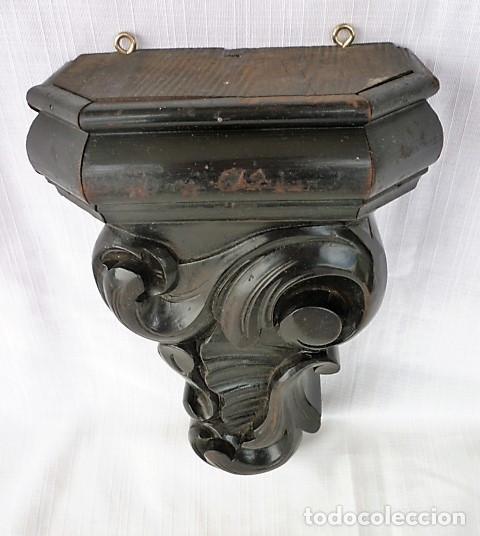Antigüedades: MENSULA TALLADA EN MADERA NOBLE MACIZA CON MOTIVOS VEGETALES - Foto 5 - 153688054