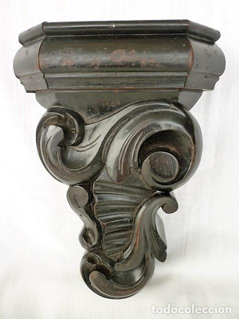 Antigüedades: MENSULA TALLADA EN MADERA NOBLE MACIZA CON MOTIVOS VEGETALES - Foto 6 - 153688054
