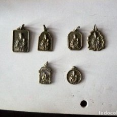 Antigüedades: SEIS MEDALLAS DE NUESTRA SEÑORA DEL CARMEN, UNA DE PLATA Y TROQUELADA. Lote 153692538