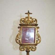 Antigüedades: RELICARIO ANTIGUO DE BRONCE DORADO SIGLO XVIII. Lote 153693886