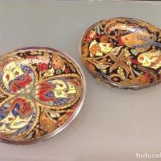 Antigüedades: 2 PLATOS DE CRISTAL ROYO. Lote 153709386
