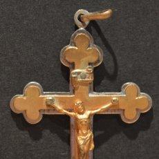 Antigüedades: ANTIGUA CRUZ TRINIDAD CRUCIFIJO COLGANTE EN BRONCE SOBRE DORADO. Lote 56694083