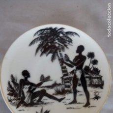 Antigüedades: ANTIGUO Y RARO PLATO DE CAFE CERAMICA DE LIMOGES AFRICANOS. Lote 153736674
