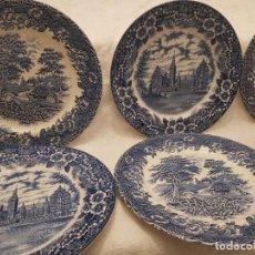 Antigüedades: 6 PLATOS INGLESES BLUE / AZUL TRANSFERWARE.. Lote 153749554