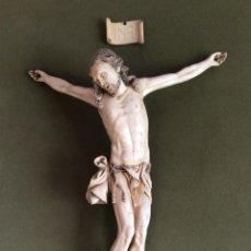 Antigüedades: ANTIGUA TALLA DE CRISTO EN MARFIL ,SIGUIENDO MODELOS INDO-PORTUGUÉS -34 CM ,IDEAL COLECCIÓN IMPRESI. Lote 153838614