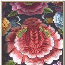 Antigüedades: BELLO MANTÓN FLORES, ROSAS, CLAVELES, PEONIAS DE ESPECTACULAR COLORIDO.. Lote 153877734