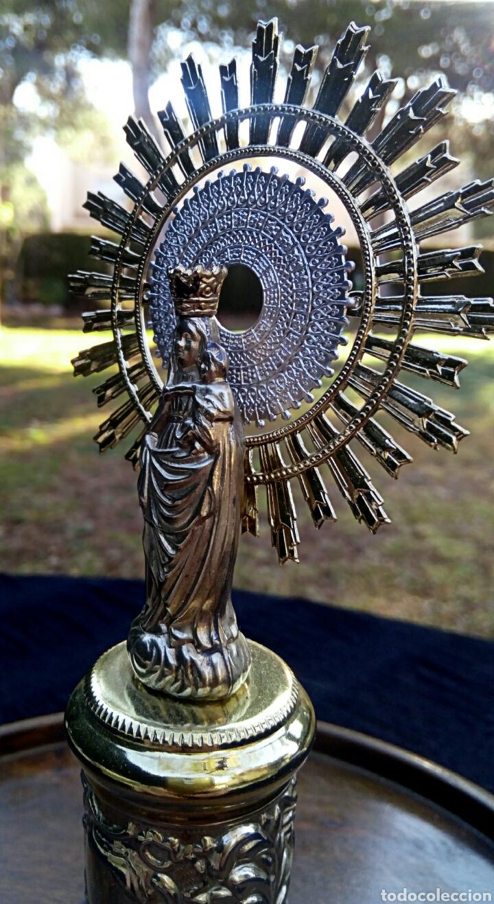 Antigüedades: Virgen del Pilar de plata. Con chapados en oro. - Foto 5 - 153902330