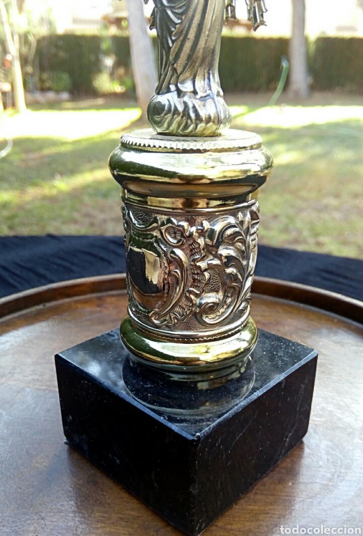 Antigüedades: Virgen del Pilar de plata. Con chapados en oro. - Foto 7 - 153902330