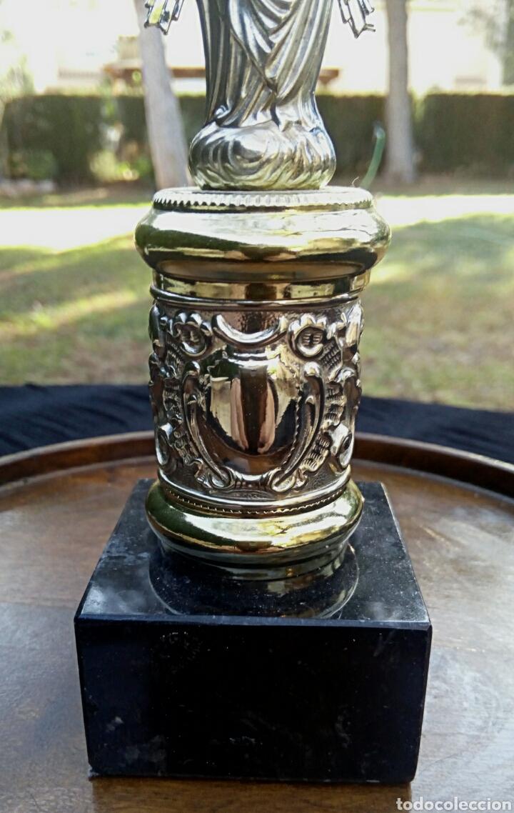 Antigüedades: Virgen del Pilar de plata. Con chapados en oro. - Foto 8 - 153902330