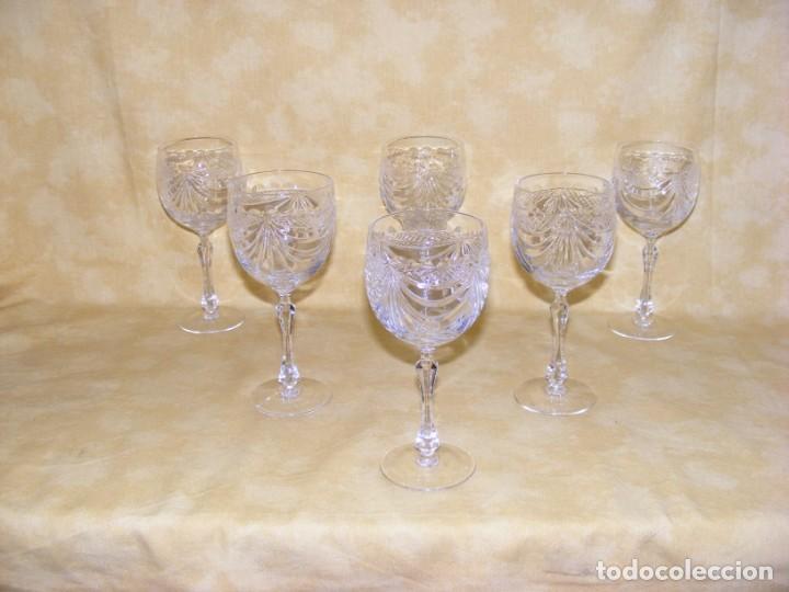 JUEGO DE 6 COPAS CRISTAL TALLADO (Antigüedades - Cristal y Vidrio - Bohemia)