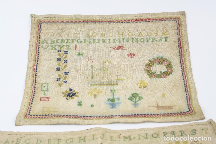 Antigüedades: Bordados con alfabeto y otros motivos. Ver fotos anexas. - Foto 3 - 153950518