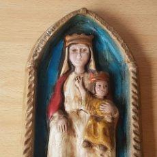 Antigüedades: IMAGEN RELIGIOSA VIRGEN CON NIÑO GRAN RELIEVE DE 1986. Lote 153976458