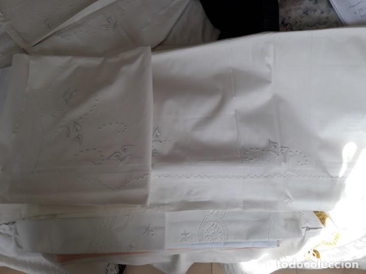Antigüedades: sabana bordada a mano blanca y funda de almohada - Foto 7 - 154021166