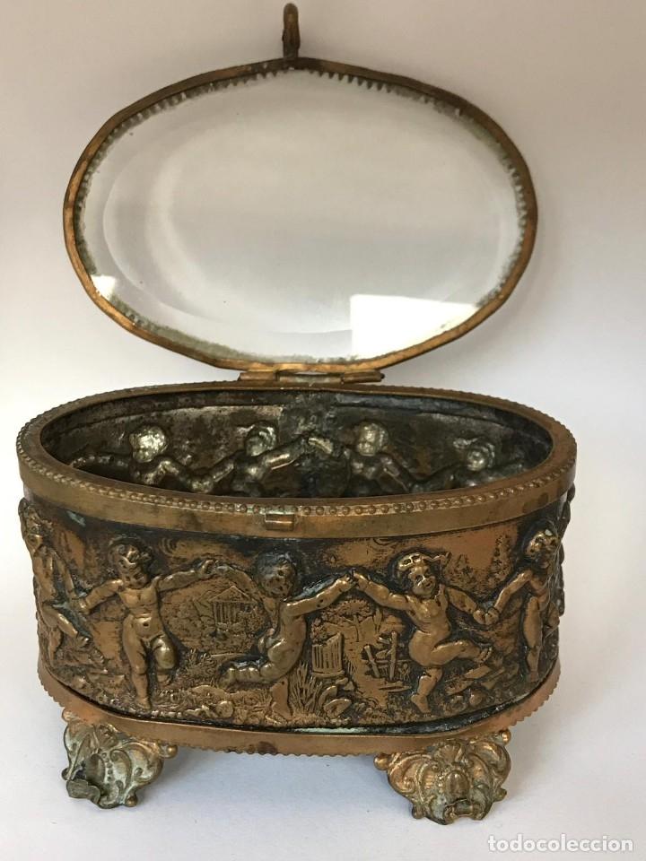 Antigüedades: ANTIGUA CAJA JOYERO COFRE FRANCESA DE EPOCA NAPOLEON III FINALES DEL S.XIX. - Foto 6 - 26121068