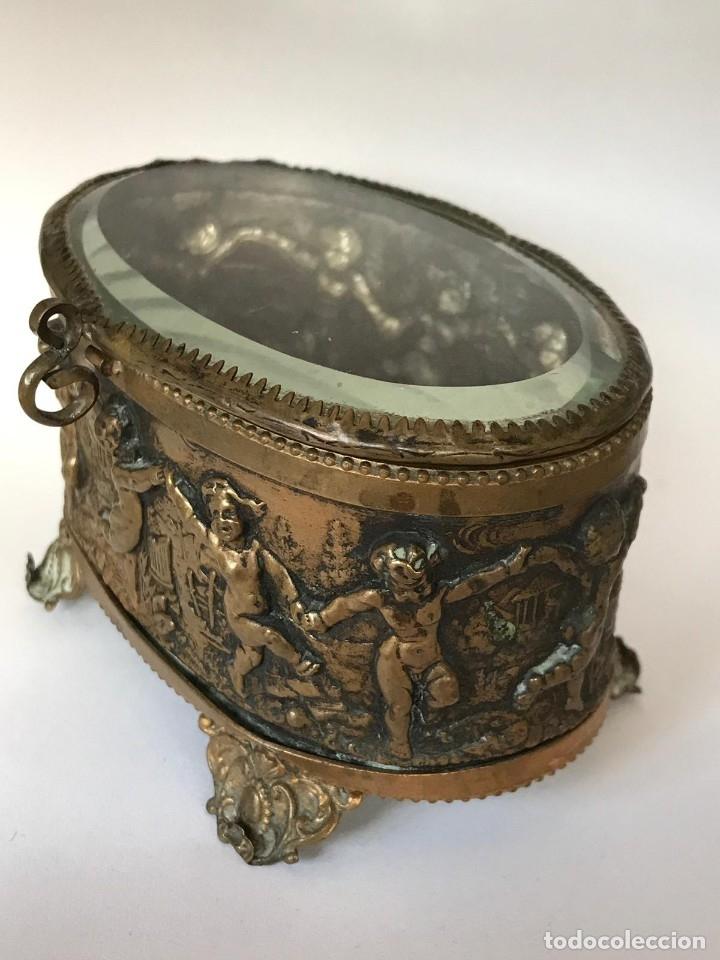 Antigüedades: ANTIGUA CAJA JOYERO COFRE FRANCESA DE EPOCA NAPOLEON III FINALES DEL S.XIX. - Foto 7 - 26121068