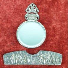 Antigüedades: CONJUNTO DE ESPEJO Y PEINE DE TOCADOR. METAL PLATEADO. DINAMARCA. SIGLO XX.. Lote 154097678