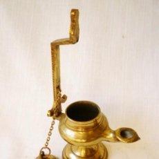 Antigüedades: CANDIL LÁMPARA DE ACEITE EN BRONCE PERFECTO ESTADO. Lote 154101258