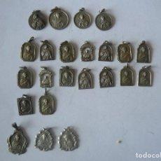 Antigüedades: 23 MEDALLAS RELIGIOSAS CON DIVERSOS MOTIVOD. ALGUNA DE PLATA. Lote 154106306