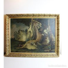 Antigüedades: ANTIGUO CUADRO ÓLEO ORIGINAL BODEGÓN CAZA. Lote 154132514