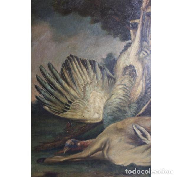 Antigüedades: Antiguo cuadro óleo original bodegón caza - Foto 4 - 154132514