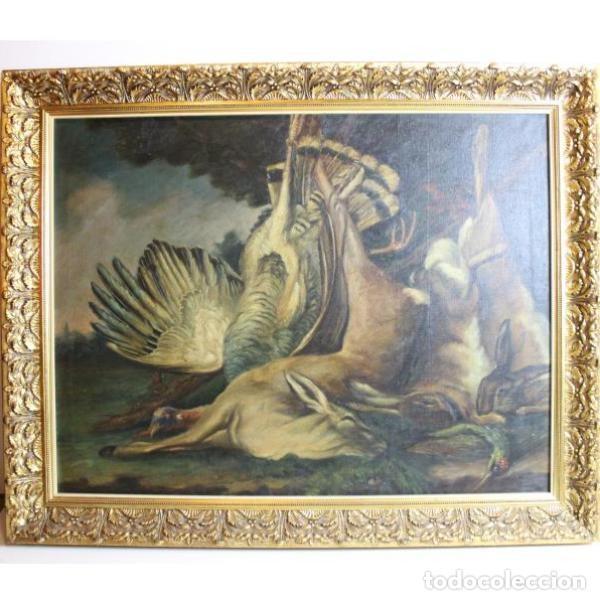 Antigüedades: Antiguo cuadro óleo original bodegón caza - Foto 6 - 154132514