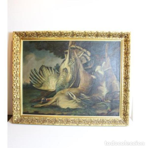 Antigüedades: Antiguo cuadro óleo original bodegón caza - Foto 7 - 154132514