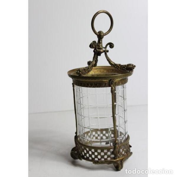 Antigüedades: Antiguo farol de bronce y cristal - Foto 3 - 154132786