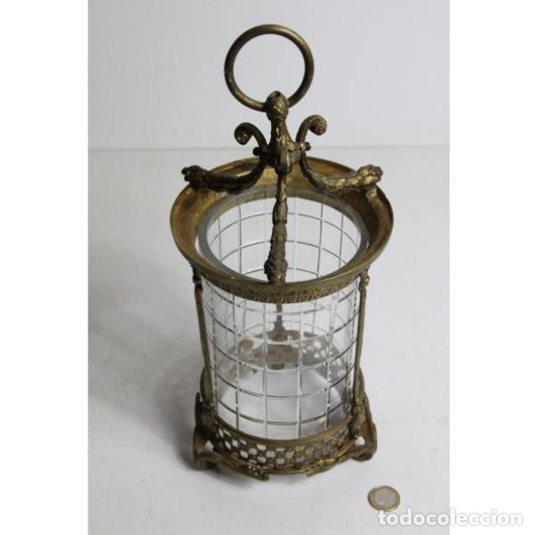 Antigüedades: Antiguo farol de bronce y cristal - Foto 5 - 154132786