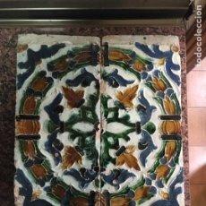 Antigüedades: MAGNIFICA PAREJA DE AZULEJOS DOS POR TABLA DE TRIANA. Lote 154136096