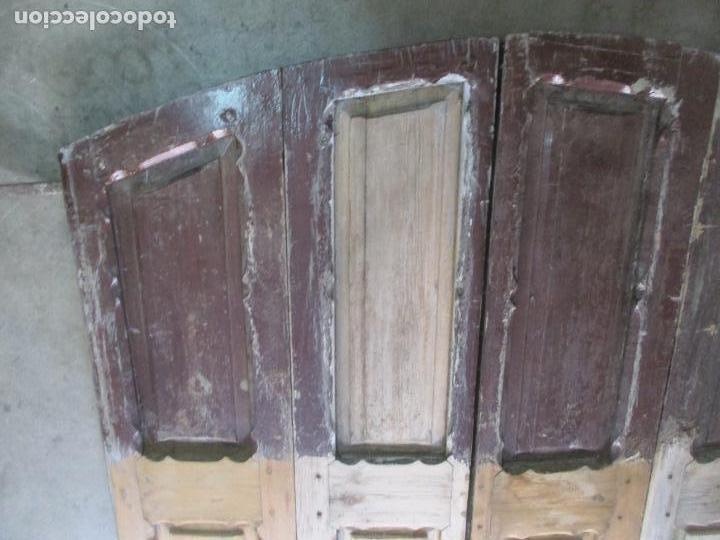 Antigüedades: Gran Portón Antiguo - Puerta - Madera Pino - 4 Hojas - Herrajes, Cerradura y Picaporte - S. XIX - Foto 7 - 154145162
