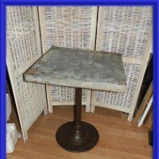 Antigüedades: MESA VELADOR VINTAGE BISTRO TIPO BAR PATA HIERRO Y METAL. Lote 154150074