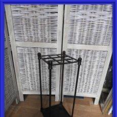 Antigüedades: PARAGUERO BASTONERO DE HIERRO NEGRO MUY DECORATIVO. Lote 240146085