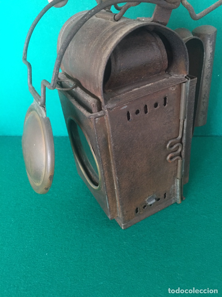 Antigüedades: Antiguo farol de hierro 26x16x11cm - Foto 3 - 154156672