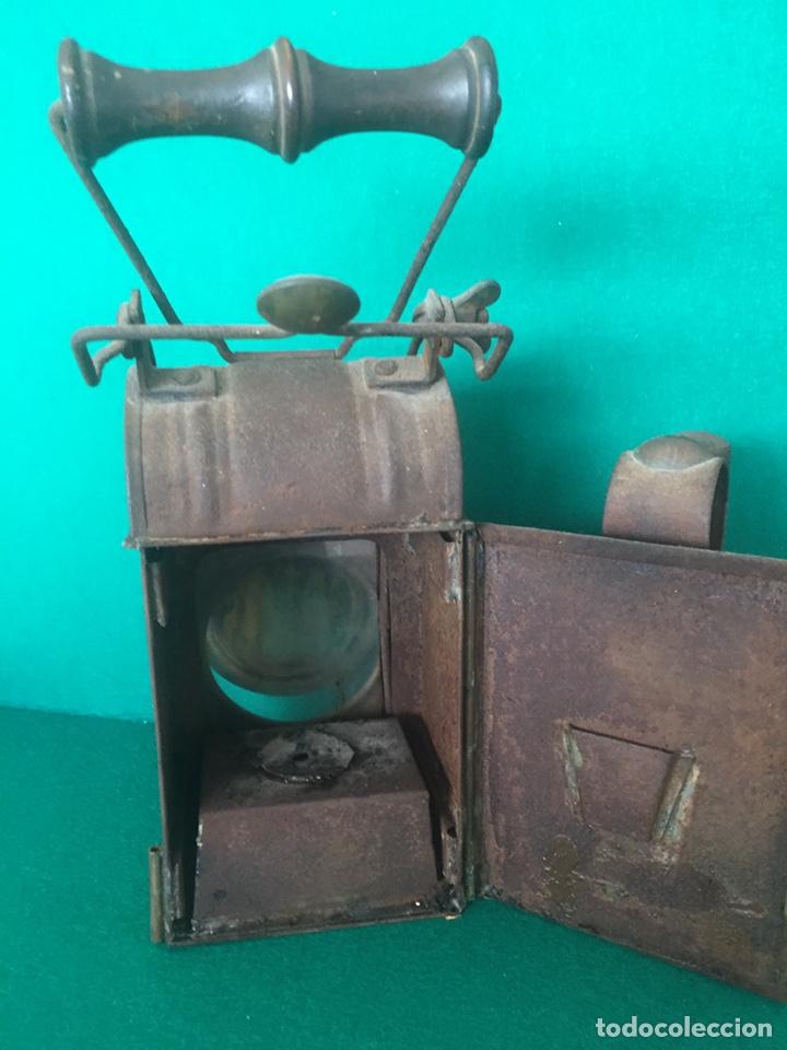 Antigüedades: Antiguo farol de hierro 26x16x11cm - Foto 4 - 154156672
