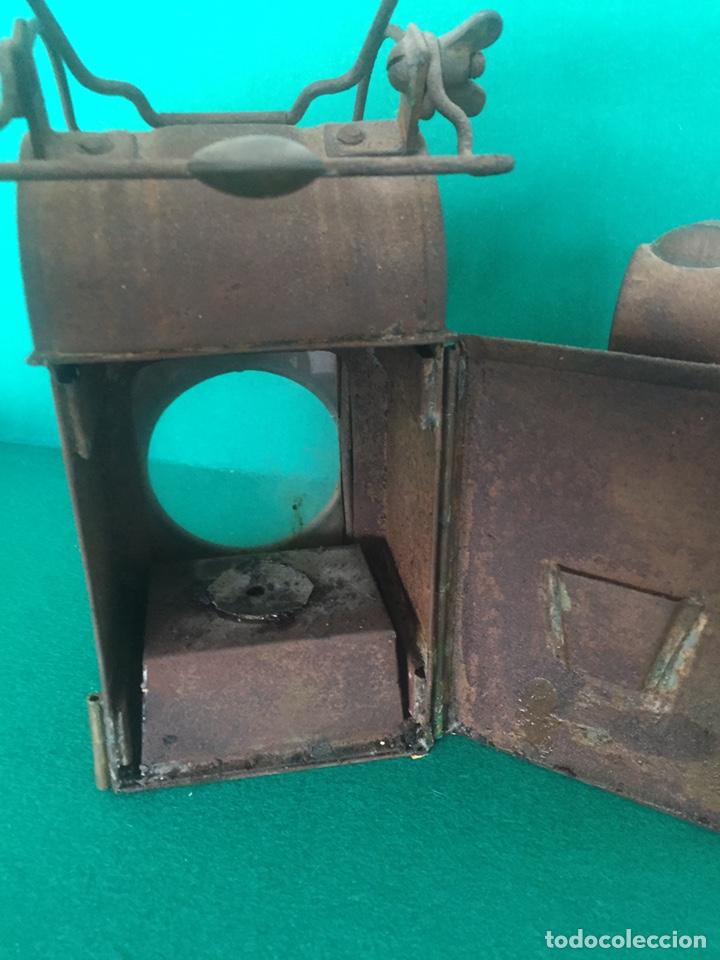 Antigüedades: Antiguo farol de hierro 26x16x11cm - Foto 5 - 154156672