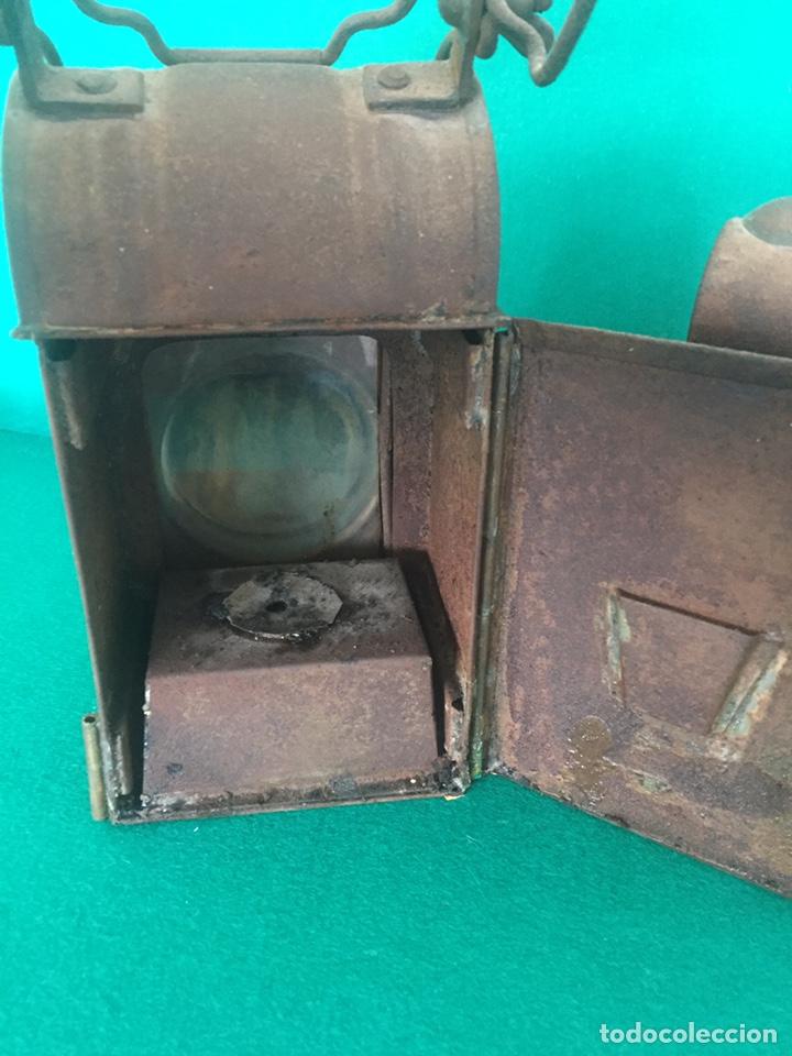 Antigüedades: Antiguo farol de hierro 26x16x11cm - Foto 6 - 154156672