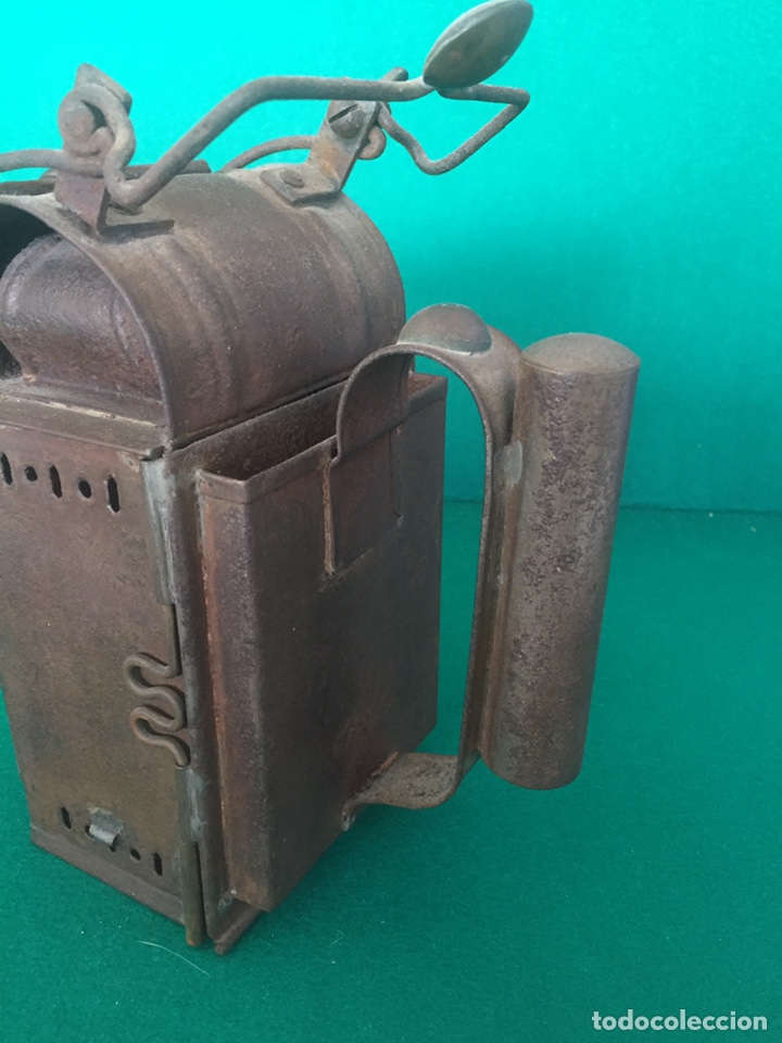 Antigüedades: Antiguo farol de hierro 26x16x11cm - Foto 8 - 154156672