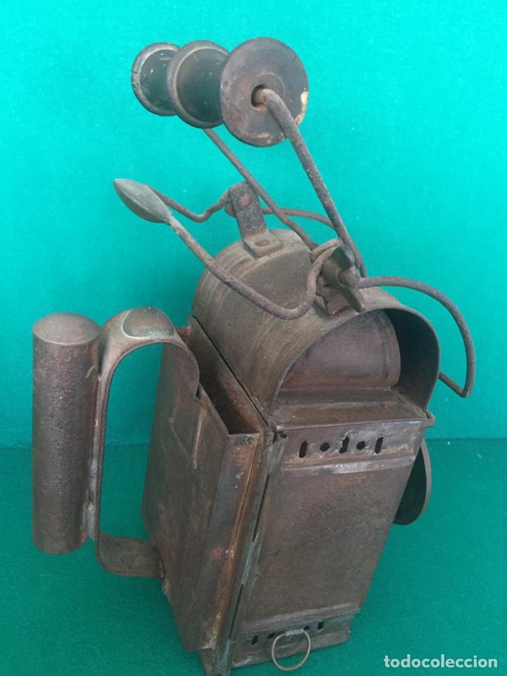 Antigüedades: Antiguo farol de hierro 26x16x11cm - Foto 11 - 154156672