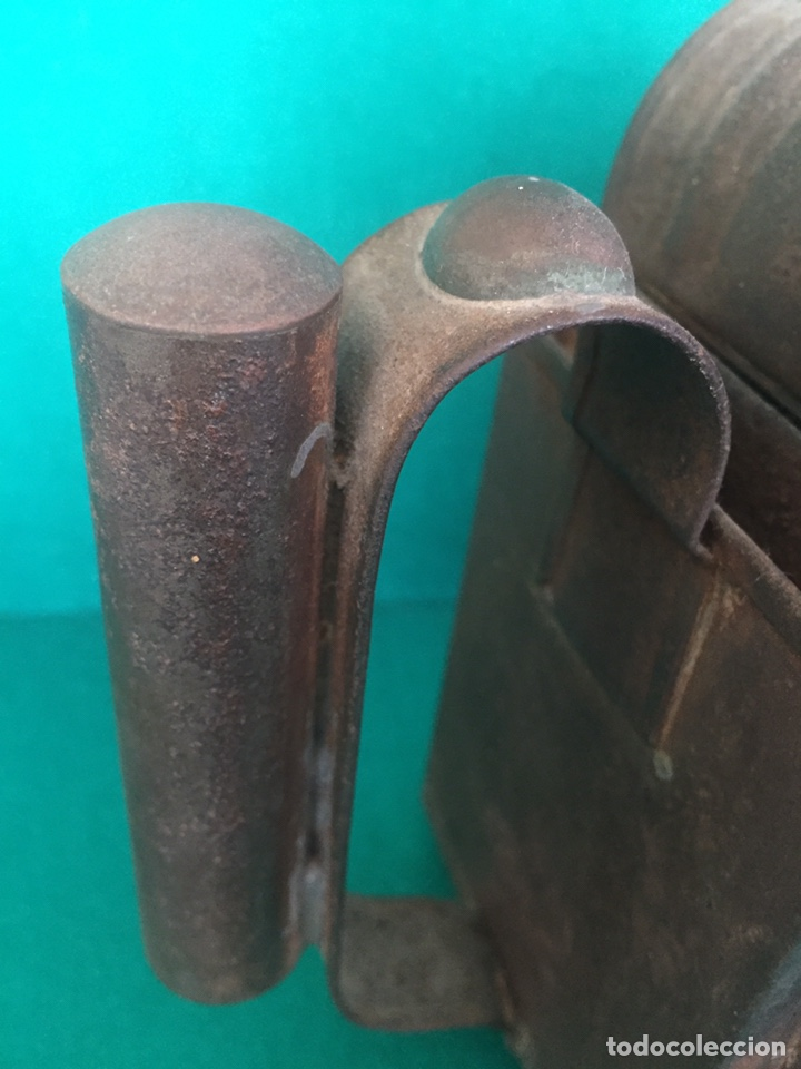 Antigüedades: Antiguo farol de hierro 26x16x11cm - Foto 13 - 154156672