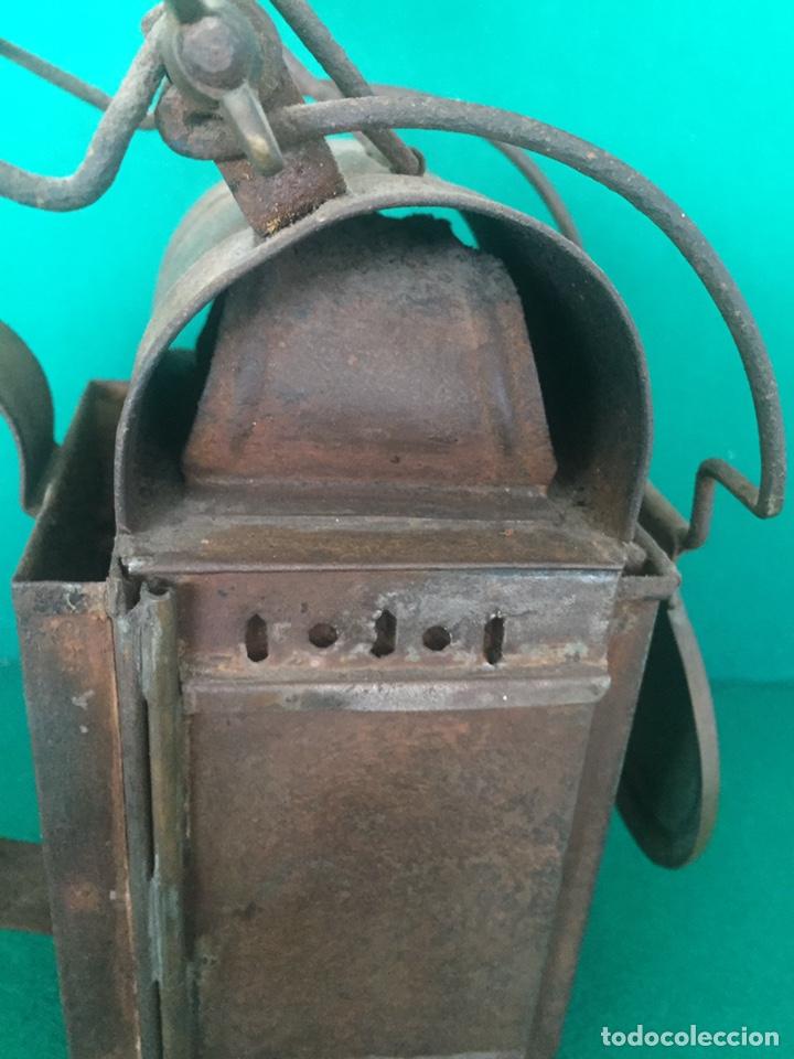 Antigüedades: Antiguo farol de hierro 26x16x11cm - Foto 15 - 154156672