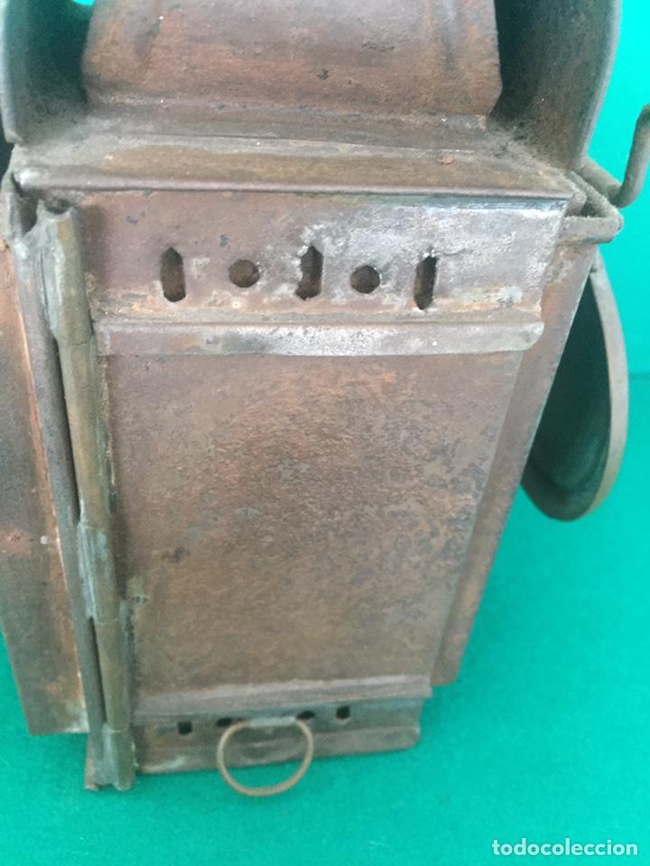 Antigüedades: Antiguo farol de hierro 26x16x11cm - Foto 16 - 154156672